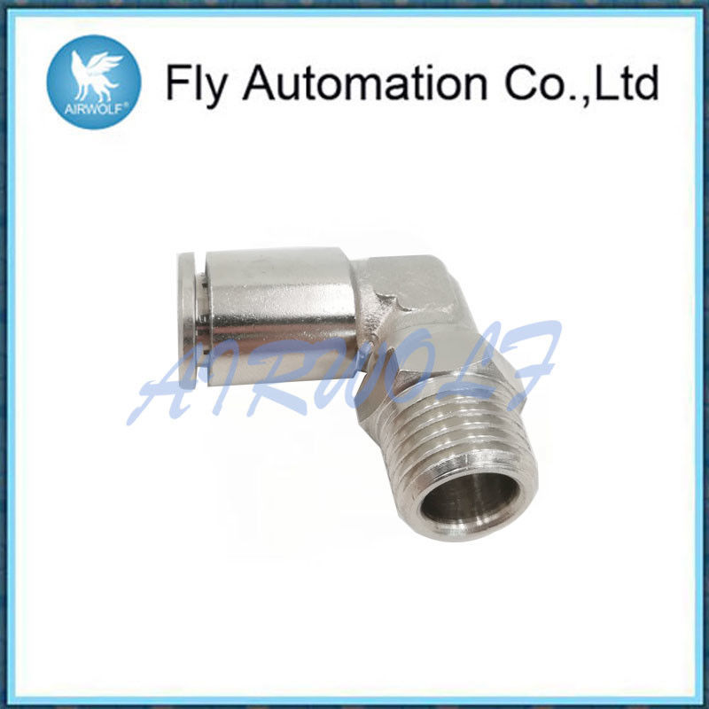 X6522 Pneumatic Tube Fittings Bsp Swivel Elbow Connector Right Angle Pose